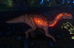 Iguanodons in Aberration have glowing spots.