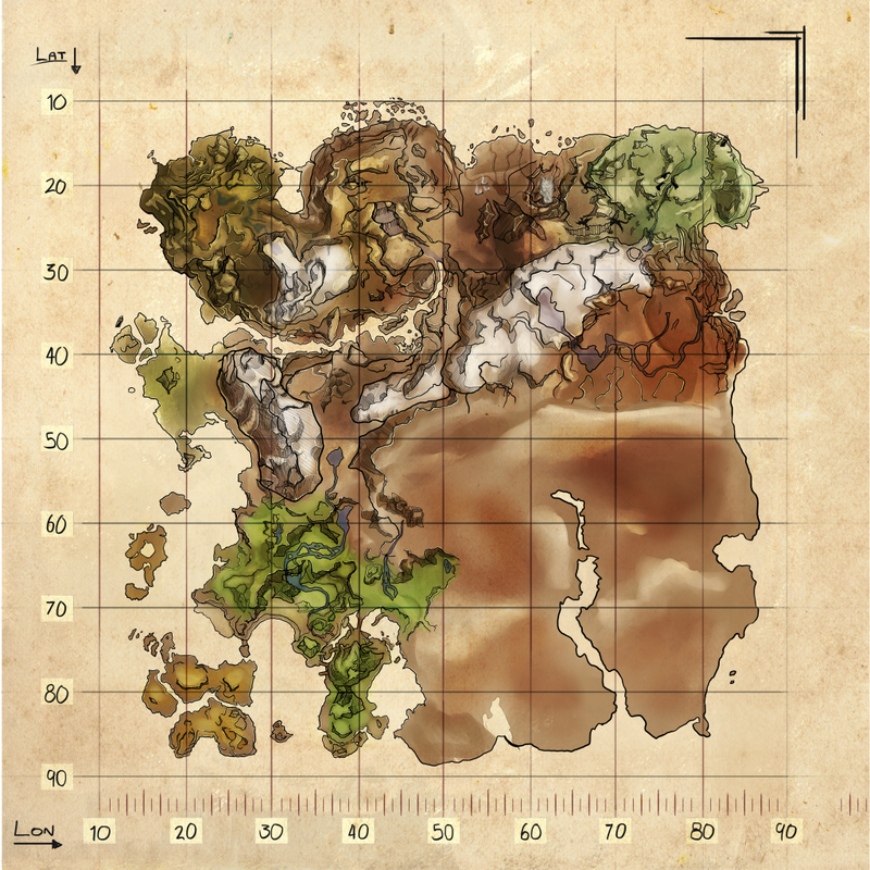 Scortched Earth Map.Explorer Map Ragnarok Official Ark Survival Evolved Wiki