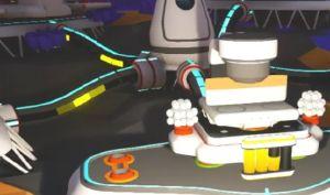 電力がたまりきっていないプリンター。後ろの黄色く光っているケーブルはネットワーク化されたモジュール間で電源が転送されている様子。