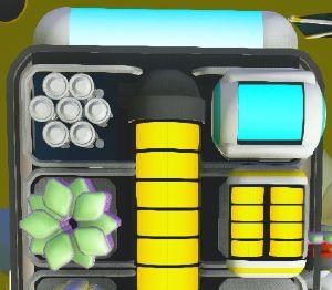 La batterie externe de 2 barres sur le côté droit du sac à dos, en dessous du réservoir d'oxygène.