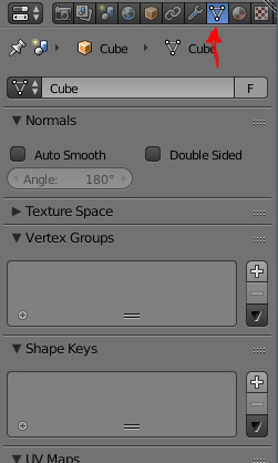 object data tab