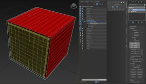 The finished Conforming Mesh with an UVW Map modifier set to a box 2,2,2 projection.