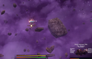 A drone approaching a small Xsotan ship under fire.