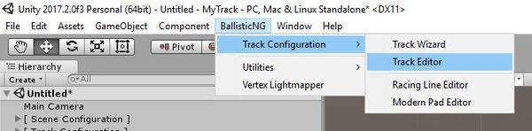Track Editor, in the Unity menu