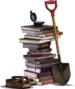 Archaeology Books and Old Shovel.png