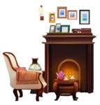 Antique Sofa and Fireplace.png