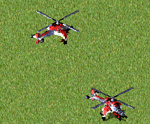 A mid-air and a landed Hind Transport