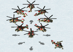 Airborne (circle) and deployed (lower right) siege choppers