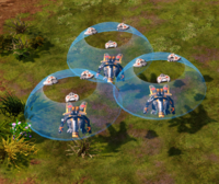 Three Mecha Tengus with point-defense drones