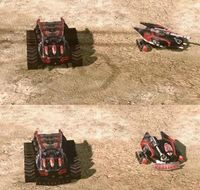 Top: Reckoner and Scorpion tank without the Dozer Blade upgrade. Bottom: Reckoner and Scorpion tank with the Dozer Blade upgrade