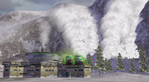 The GLA toxin lab, moments before being destroyed by the avalanche