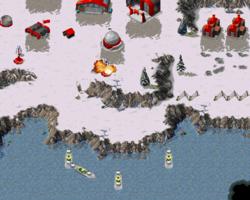 Allied Cruisers bombarding the Soviet base