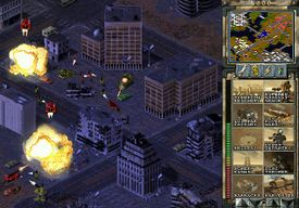 A skirmish battle with Nod's Heavy tanks attacking GDI ground forces in the city.