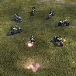 Combat cycles driven by various infantry. Clockwise from top: saboteur, Jarmen Kell, worker, rebel, RPG trooper, terrorist, hijacker