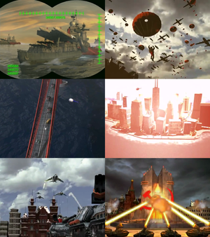 From the top-left: Soviet Dreadnoughts spotted in the Atlantic Ocean Soviet airborne invasion of the mainland United States Apocalypse tanks moving on the Golden Gate Bridge Nuclear annihilation of Chicago by General Vladimir Harriers engaging Apocalypse tanks during Chrono Storm Prism tanks obliterating a Soviet nuke silo in Moscow