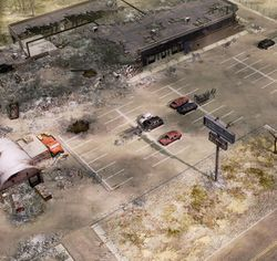 The lot where the Nod driver detonated the truck, several hours after the incident.