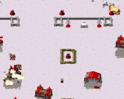 Super tanks attacking the main Soviet base after their reprogramming by the Allies.