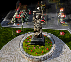 The Mother Russia statue, the primary objective of this mission