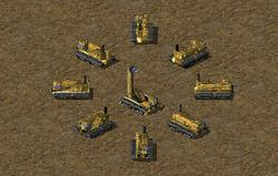 Mobile (circle) and deployed (center) Sensor Arrays