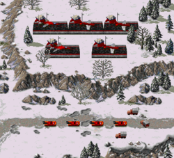 Three supply trucks escorted by four Heavy tanks prepare to move through hostile terrain, receiving limited air support along the way