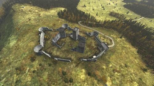 Aerial shot of Devils Castle