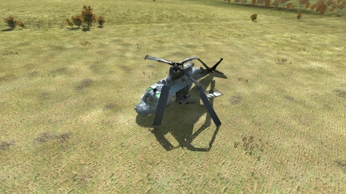 Aerial shot of crashed UH-1Y heli site