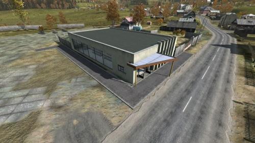 Aerial shot of the supermarket in Zelengorsk