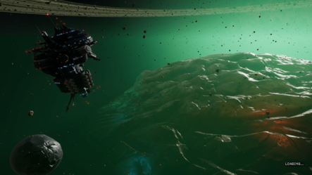 A screenshot of the Space Rig exterior view