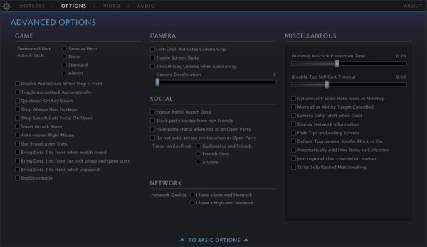 Game settings - Dota 2 Wiki