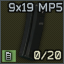 Cargador estándar de 20 balas para MP5 de 9x19 mm