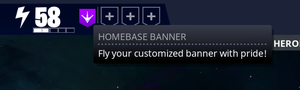 customized banner displayed in party section in the top left corner of the main menu in fortnite - fortnite save the world banner icons