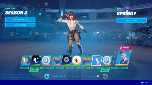 In-game view of the Battle Pass tab for Chapter 2, Season 2