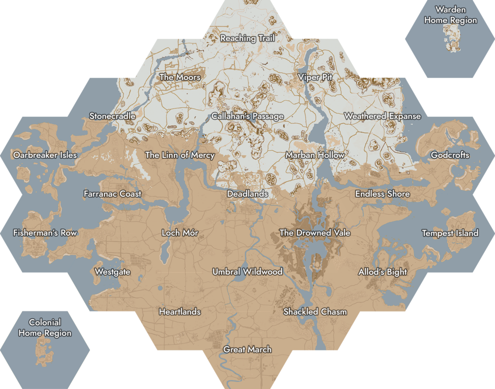 The World Map of Foxhole. Click on a region to open the corresponding page.