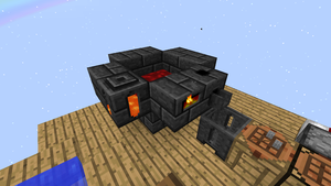 A 2x2 smeltery with some molten iron inside