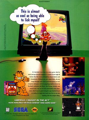 Garfield caught in the act video game print ad NickMag Dec 1995.jpg