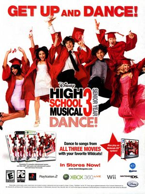 High School Musical 3 Dance game print ad NickMag Dec Jan 2009.jpg