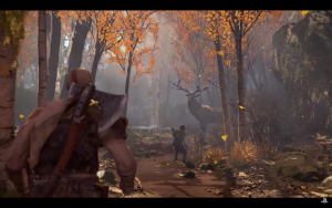 Kratos' son hunting a deer.