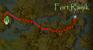 Minimap trail from Fort Ranik to Ivor Trueshot.