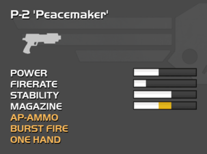 Fully upgraded P-2 Peacemaker sidearm