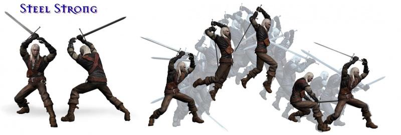 Starker Kampfstil mit dem Stahlschwert