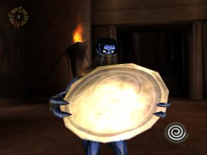 Raziel holding a Reflector Shield