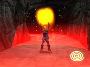 Raziel using the Fire Glyph in Legacy of Kain: Soul Reaver