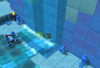 Waterfall golden chest in Frozencrest. Can be accessed by descending a hidden ladder in the top of the waterfall.