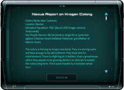 Nexus Report on Krogan Colony