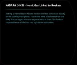 KADARA (HNS) - Homicides Linked to Roekaar