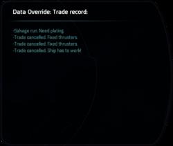 Data Override: Trade record: