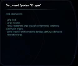 "Discovered Species: ""Krogan"""