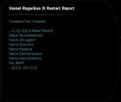 Vessel Regarikas III Restart Report