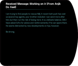 Received Message: Working on it (From Anjik Do Xeel)