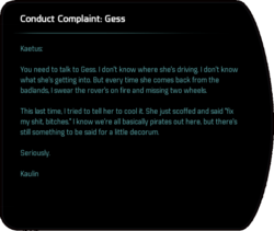 Conduct Complaint: Gess